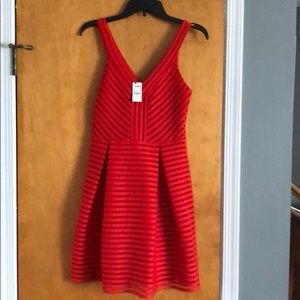 Express Red fit and flare dress